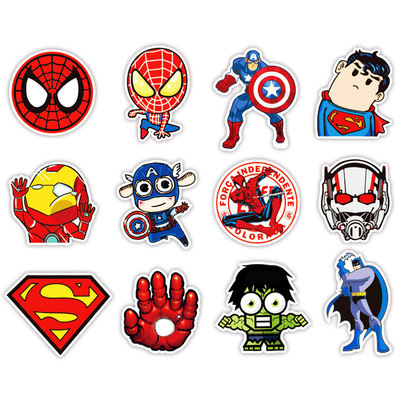 Image 3 - 50pcs Super Hero Marvel Stickers Movies Character Deco Sticker For DIY Skateboard Motorcycle Luggage Laptop Cartoon Sticker Sets-in Laptop Skins from Computer & Office