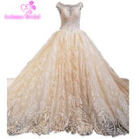 Champange và Ren Prom Evening Dresses Tulle Bóng Gown Crystals Beading Appliques Pearls Real Photo Prom Dresses Dài
