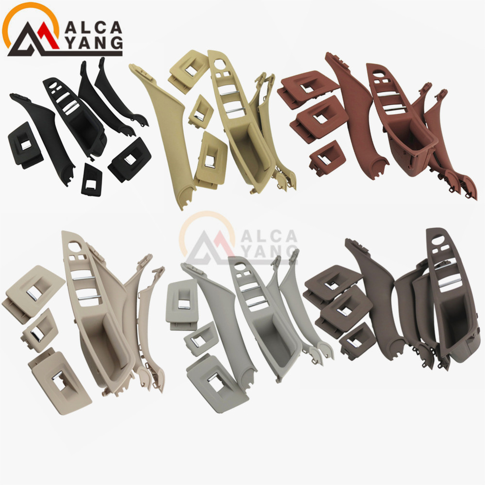 4/7PCS Left Hand Drive LHD For BMW 5 series F10 F11 520 525 Wine Car Interior Door Handle Inner Panel Pull Trim Cover Armrest