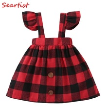 Seartist Baby Girls Dress Spring Belt Dresses Ruffle Sleeved Red Plaid Dress Baby Girl Clothes Girls Dresses 2019 New 35C