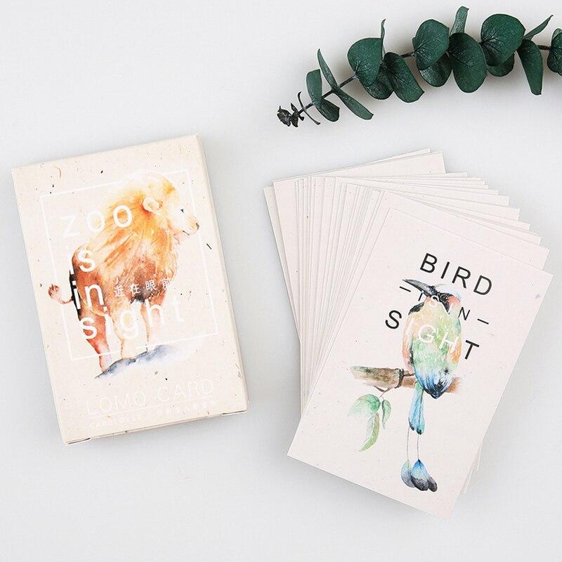 28 pcs/set card lover Zoo is in Sight mini card greeting card lomo memo card kids gift postcard kawaii stationery