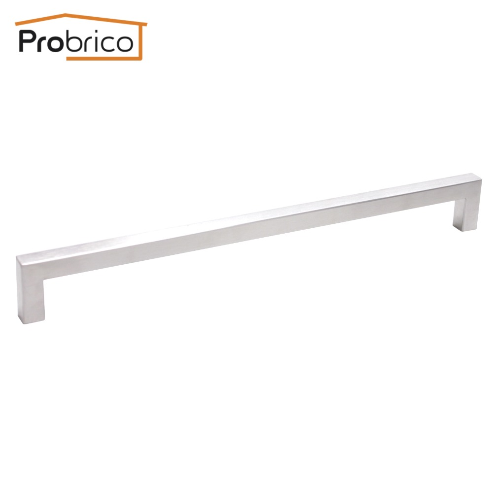 Probrico 12mm*12mm Square Bar Handle Stainless Steel Hole Spacing 288mm Cabinet Door Knob Furniture Drawer Pull PDDJ27HSS288 2pcs set stainless steel 90 degree self closing cabinet closet door hinges home roomfurniture hardware accessories supply