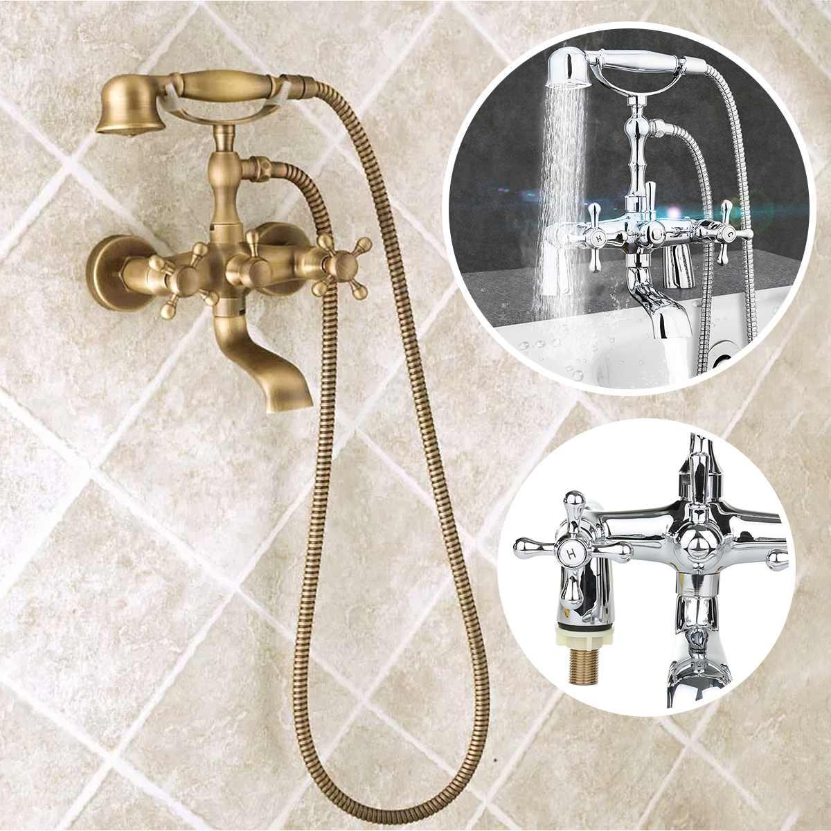 Antique Phone Shape Bathroom Bath Tub Shower Set Solid Brass Water Faucet Shower Head Hand Sprayer 1.5m Hose Bath Mixer Tap Kits