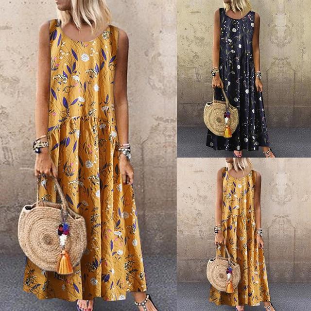 Women Summer Dress Plus Size Bohemian O-Neck Floral Print Vintage Sleeveless Long Maxi Party Dress Casual Beach Dresses 40