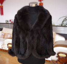 Fox real  fur mink knitted cape knitted outerwear mink cape