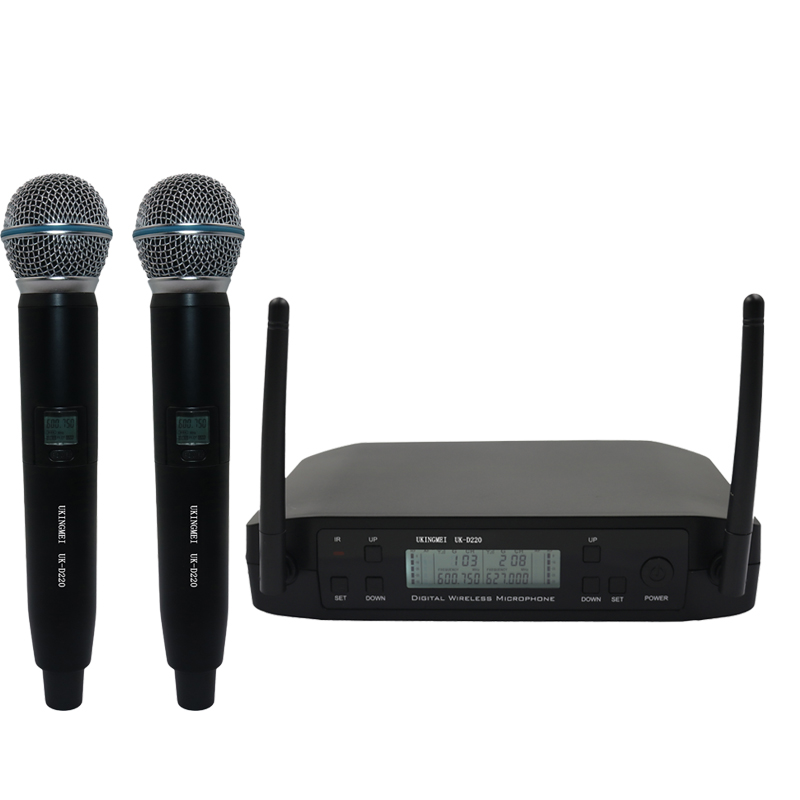 UKINGMEI UK-D220 Dual Handheld Wireless Microphone System UHF Various Frequency  Wireless Microphone Balanced+Unbalanced Output suck uk