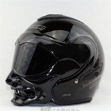 Genuino blanco y negro gas samurai motocicleta Marushin casco casco medio casco de la cara doble lente marushinC609