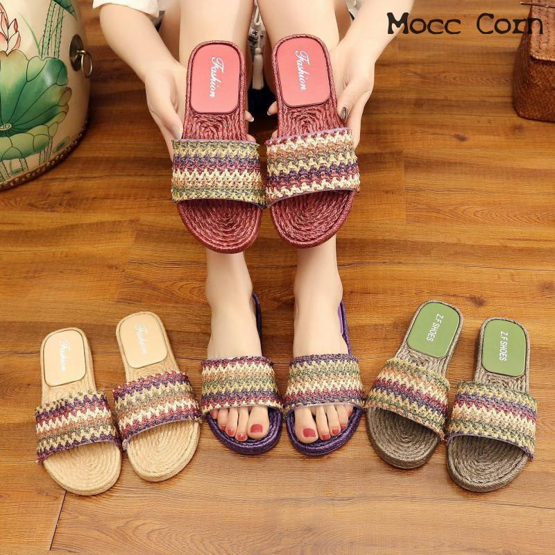 d9a6c6772f7 Summer Slippers Weaving Women Shoes Indoor Slippers Flip Flops Bathroom  Floor Home Slippers Shoes Woman Zapatillas