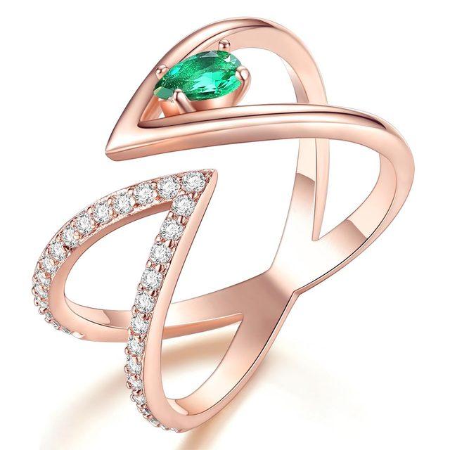 Rose Gold V Letter Open Size Fashion Ring 1