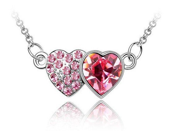 10pcs/lot Free shipping female heart/crystal necklace/pendant/green,pink,red,purple