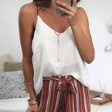 2019 Hot Women Lady V-Neck Solid Sleeveless Spaghetti Strap T-Shirt Tops Blouse Drop Shopping Parte superior suelta Wd4(China)