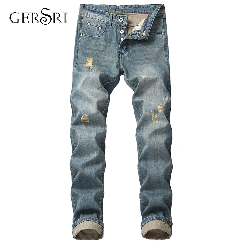 Gersri 2019 New Fashion Men Holes Jeans European High Street Destroyed Jeans Men Hip Hop Ripped Slim Jeans Pants