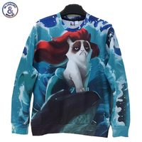 Cartoon 2017 Newest Style Free Shipping Men/Women 3d Sweatshirt Funny Print Sea Side Animal Cat With Red Hair Hoodies