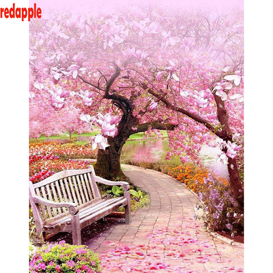 US $4 34 45% OFF|Full 5D Diy Daimond Painting Cherry Blossom natural  landscape 3D Diamond Painting square Rhinestones Diamant Painting  Embroidery-in