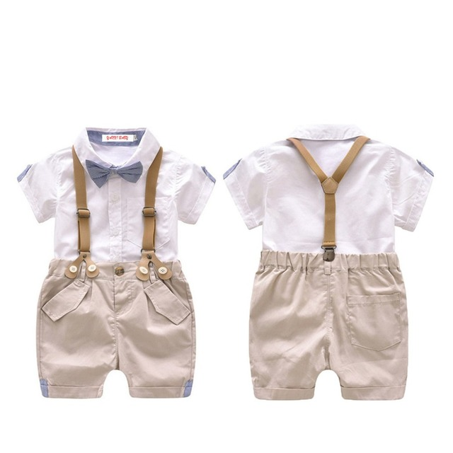 c5ca8fa1a895 Newborn Baby Boy Gentleman Outfit Clothing Clothes Set Kid Formal Overalls  Suits For Toddler 2018 Summer