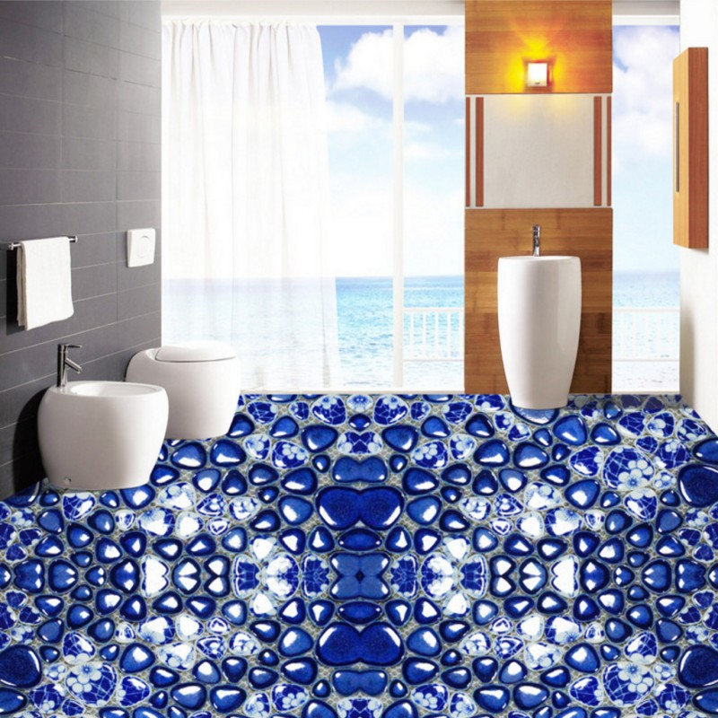 Free Shipping custom Blue white pebbles 3D stereo Self-adhesive living room bedroom bathroom corridor flooring mural wallpaper abstract mural wallpaper customize living room bathroom 3d flooring bedroom pvc self adhesive wallpaper