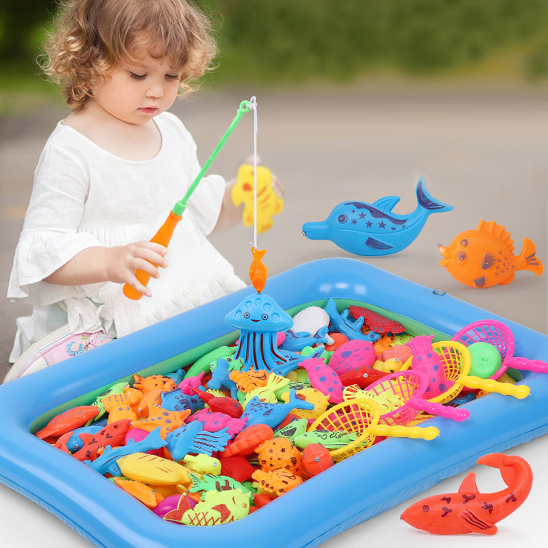 46pcs/Set Children's Magnetic Fishing Toy With Inflatable Pool Parent-Child Interactive Game Baby Bath Toys Summer Outdoor Toy(China)