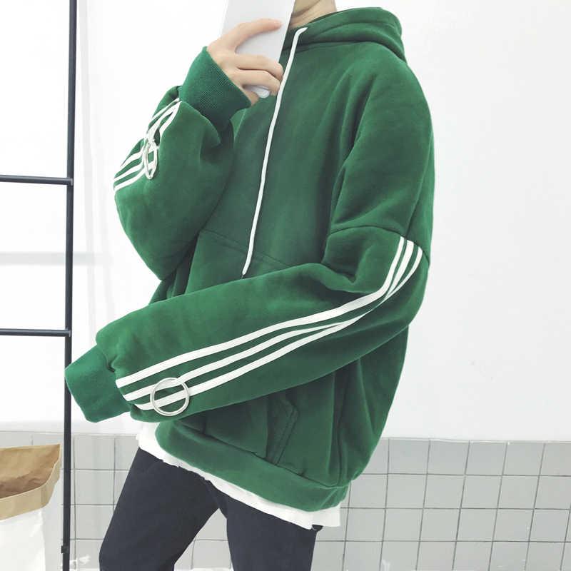 Korean Harajuku BF With Cashmere Sweatshirt Bars Hooded Men And Women Couples New Fashion Black Green Fleece Loose Hoodie