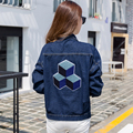 2017 women Turn-down collar long sleeve denim jacket Single-breasted Embroidery patterns jeans jackets slim casual ladies coat