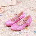 WENDYWU весна осень девочка партии способа мэри джейн для детей розовый блеск каблуках обуви малыша pu кожа для обуви