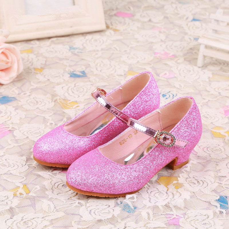 WENDYWU spring autumn baby girl fashion party mary jane for children pink glitter heeled shoe toddler pu leather shoe