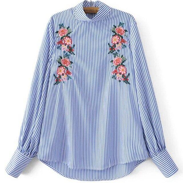 Женщины Синий Полосатый Вышивка Рубашка С Длинным Рукавом Водолазка Мода Блузка Вернуться Cut Кнопка Весна Основные Топы Camisa