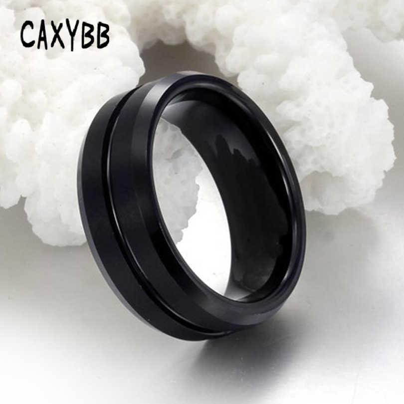 Caxybb модное мужское Ювелирное кольцо из нержавеющей стали ювелирные изделия кольцо из вольфрама мужские черные Серебряные модные вечерние металлические кольца