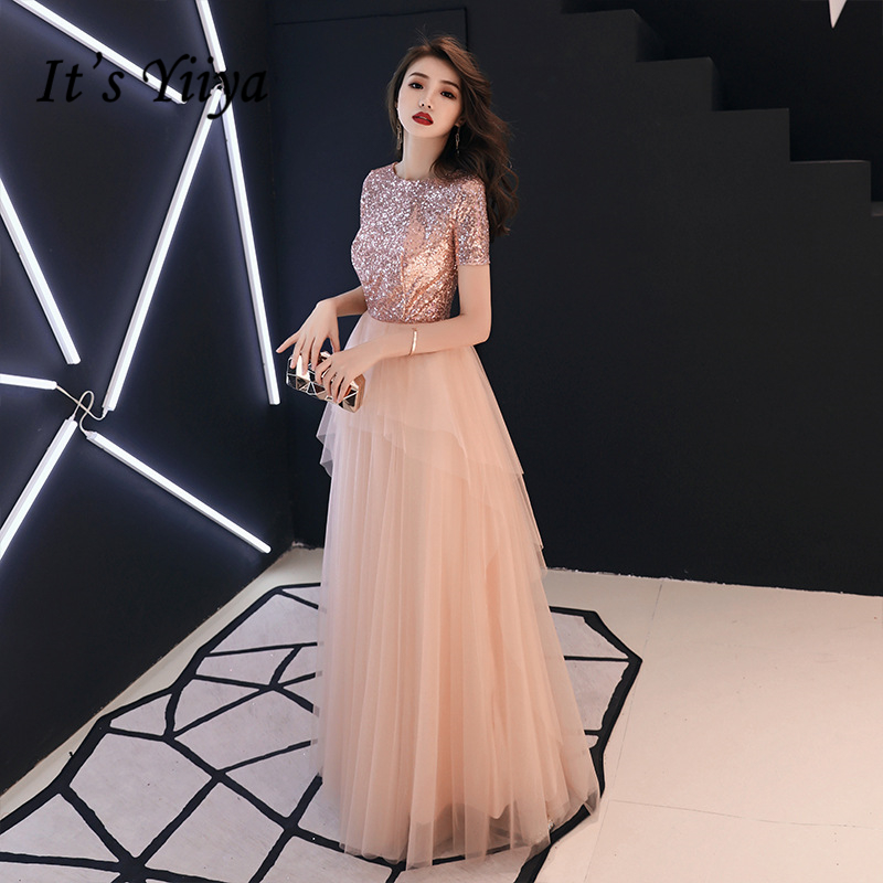 It's YiiYa   Evening     Dresses   Pink Shinig Sequined Tiered Design Party Gowns Short Sleeve O-neck Zipper Long Formal   Dress   E339