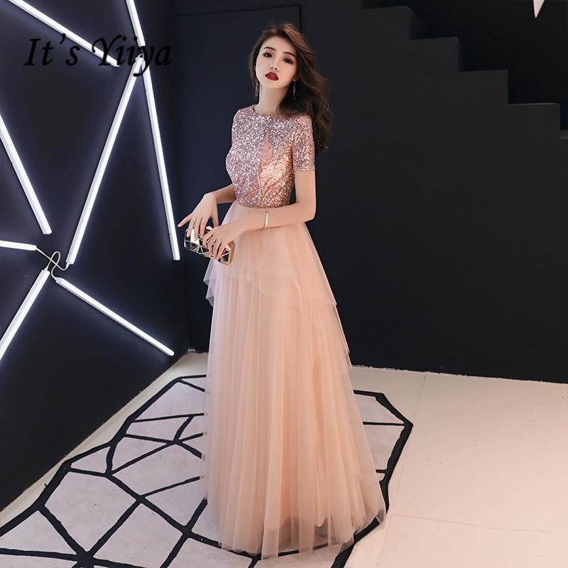 It's YiiYa   Evening     Dresses   Pink Shinig Sequined Tiered Design Party Gowns Short Sleeve O-neck Zipper Long Formal   Dress   E339