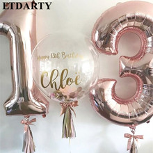 2pcs/lot 13 /31 Number Balloons 40Inch Large Mylar Helium Foil Silver Rose Gold Kids 13th Birthday Anniversary Party Decorations