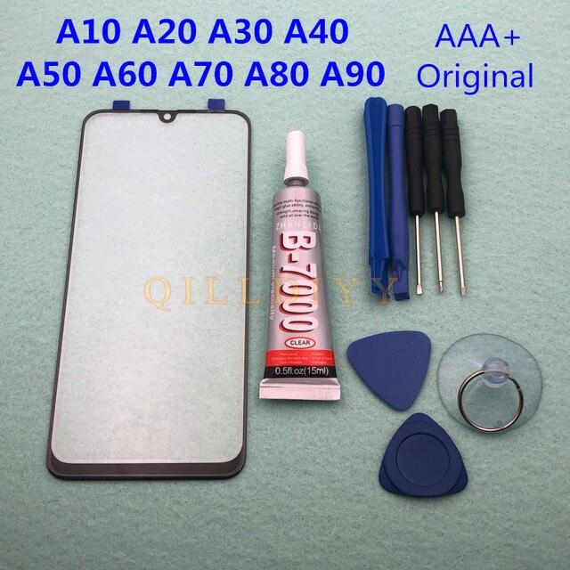Оригинальный Внешний стеклянный объектив для Samsung Galaxy A50, A30, A10, A20, A40, A60, A70, A80, A90, ЖК дисплей, сенсорный экран, клей для фронтальной панели + для клея в виде B 7000