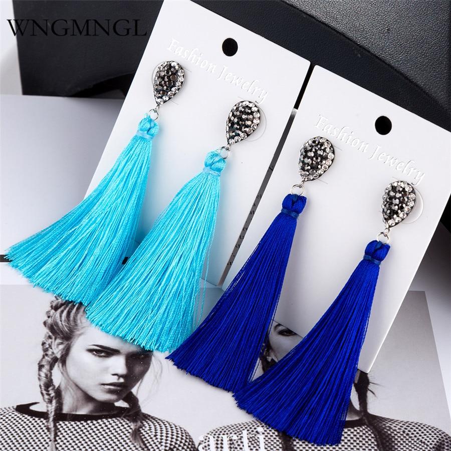 WNGMNGL New Women Tassel Earrings Bohemian Silk Fabric Crystal Geometric Long Drop Earrings For Women Fashion Charm Jewelry Gift in Drop Earrings from Jewelry Accessories
