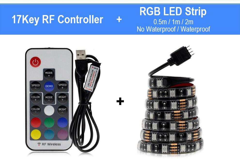 HTB1EEa8adzvK1RkSnfoq6zMwVXaM USB LED Strip 5050 RGB Changeable 5V Waterproof / No Waterproof 0.5m 1m 2m with USB Controller Set DIY TV Decoration LED Light.