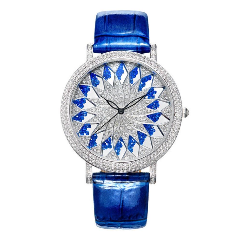 MATISSE Fashion Snowflake Full Crystal Dial Case Leather Strap Women Fashion Quartz Watch Blue