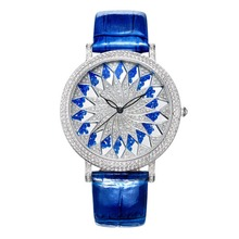 MATISSE Fashion Snowflake Full Crystal Dial & Case Leather Strap Women Fashion Quartz Watch – Blue