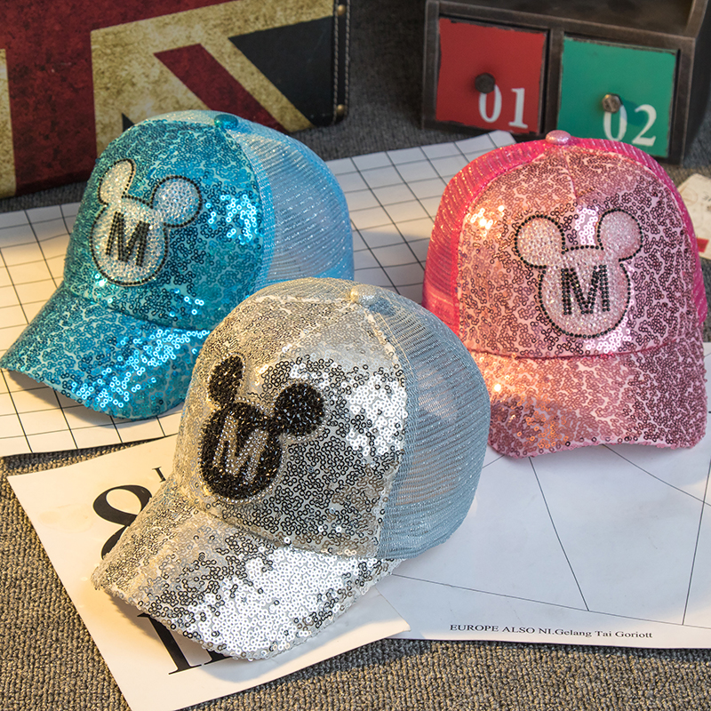 2017 Children Hip Hop Baseball Cap Summer Sequin M letters kids Sun Hat Boys Girls snapback mesh Caps for 2-8 years old russia usa spring summer youth girl sequins leisure sunshade hat mesh campus hat sun hat female sun dance hip hop baseball