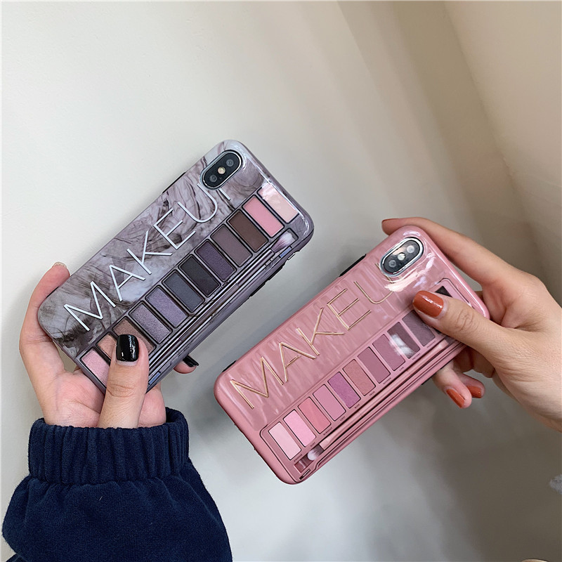 Luxury <font><b>sexy</b></font> makeup eye shadow box <font><b>Case</b></font> For <font><b>iPhone</b></font> 11 Pro 6 6s <font><b>7</b></font> 8 Plus X XS MAX XR For <font><b>iPhone</b></font> 11ProMax Nude color soft Cover image