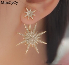 MissCyCy 1psc/Lot LZ 2016 New Fashion Jewelry Gold Color Exquisite Starlight Crystal Stud Earrings For Women