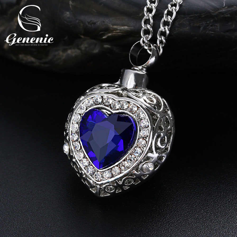 Silver Urn Cremation Heart Blue Pendant Ash Holder Mini Long Memorial Necklace Jewelry New