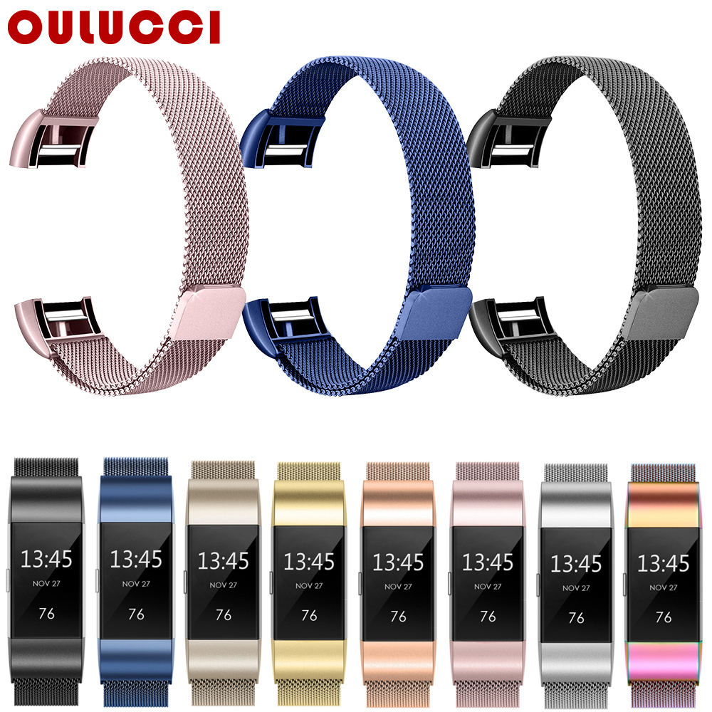 OULUCCI Metal Stainless Strap For Fitbit Charge 2 Band Milanese Loop Magnetic Fitbit Charge 3 Strap Smart Bracelet For Women Men