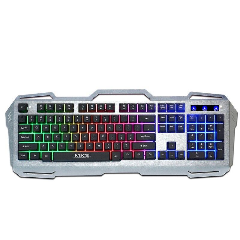 IMice AK-400 Gaming Keyboard USB проводной Gamer клавиатуры 104 металлический ключ Панель плавающий клавиатура с подсветкой для ПК с Российской Стикеры
