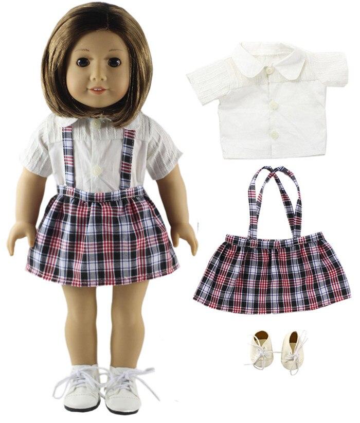 Мода Полосатый Чулок Платье + Белые Туфли для 18 Дюймов American Girl Подарки для Детей