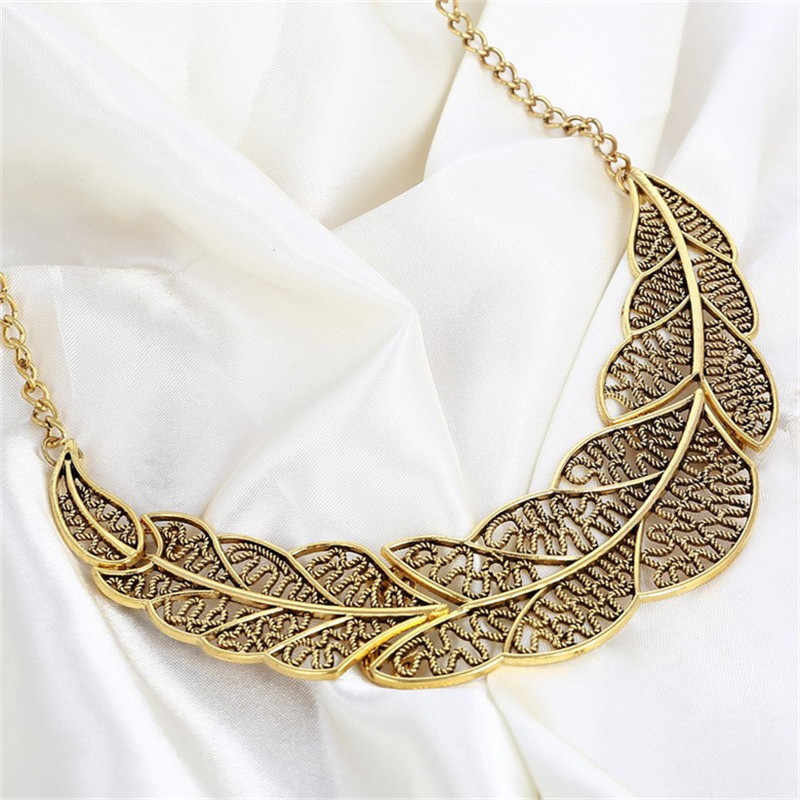 0948ad5dcfb18d Hesiod New Fashion Vintage Retro Gold Silver Leaf Pendant Statement Necklace  for Woman Dinosaur Collar Necklaces