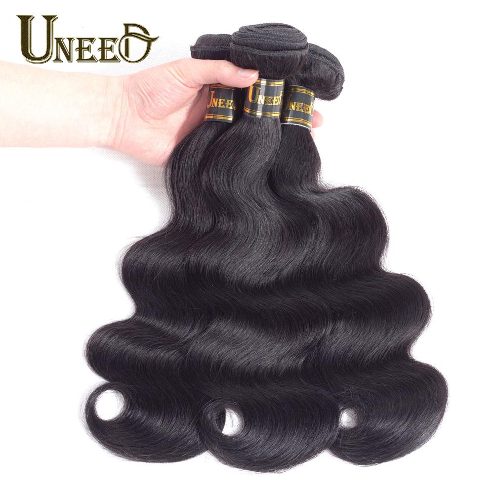 Uneed Cheveux Brésiliens Corps Vague 3 Bundles/Lot Extensions de Cheveux Humains Remy Brésiliens Cheveux Weave Bundles Naturel Noir Doux et Lisse