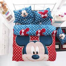 Rojo tamaño completo para niños de dibujos animados de Mickey y Minnie mouse juego de cama de Algodón hoja de Cama Ropa de Cama Edredón/edredón cubrir los conjuntos