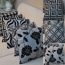 HOT Retro Black Grey Throw Case Pillowcase Seat Covers 91M7