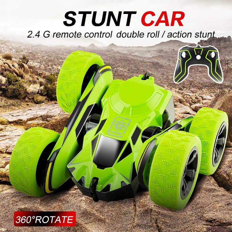 1/28 סולם שלט רחוק פעלולים מכוניות 2.4GHZ מחוץ לכביש RC מכוניות מגניב מהבהב 3D Flip ירוק 360 סיבוב RC צעצועים לילדים מתנה