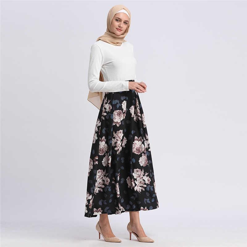 e6b8aaa9becc ... Modest Turkish Skirts Islamic Clothing Bohemian Flower Printed Long  Muslim Skirts Turkey Women Clothes Islam Pleated