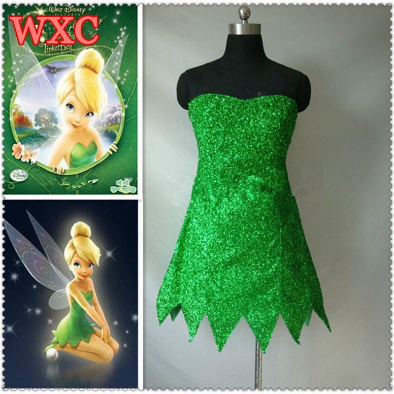 Princess Tinkerbell Dress Sexy Fancy Movie Cosplay Green Fairy Pixie Adult Dresses Summer Anime Tinker Bell Dress Vestidos WXC