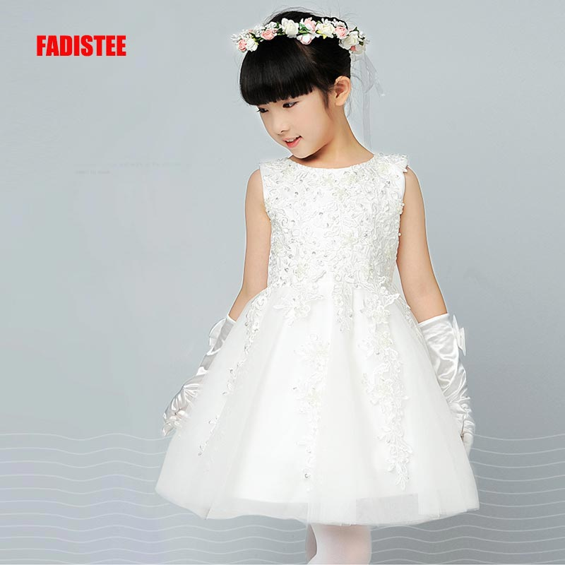 FADISTEE New Arrival Pretty   Flower     Girl     Dresses   appliques Baby   Girl     Dress   lace sweet style   dresses   pink pleat tulle A-line beads